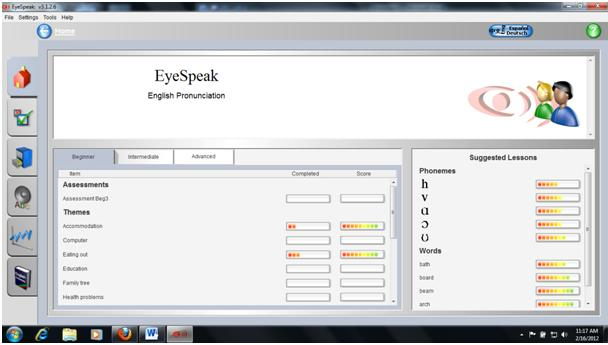 EyeSpeak home page